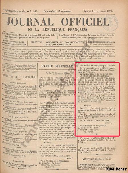 11-11-1893 – Journal Officiel de la Republique Française