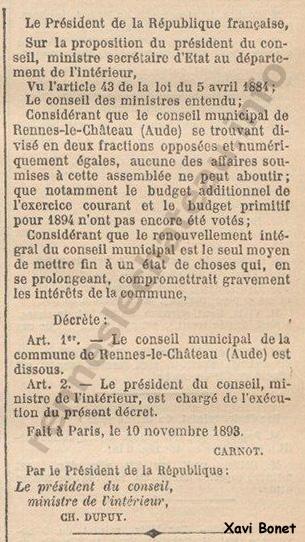 Extracto 11-11-1893 – Journal Officiel de la Republique Française