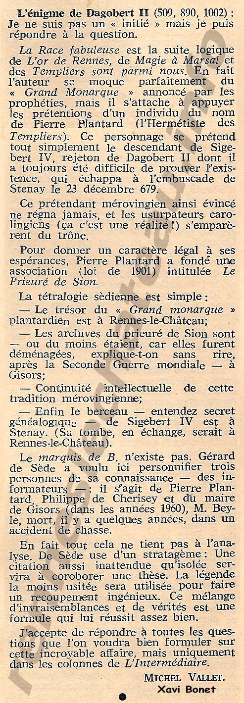 1974- ICCn 285 col 1169-1170 L'énigme de Dagobert II