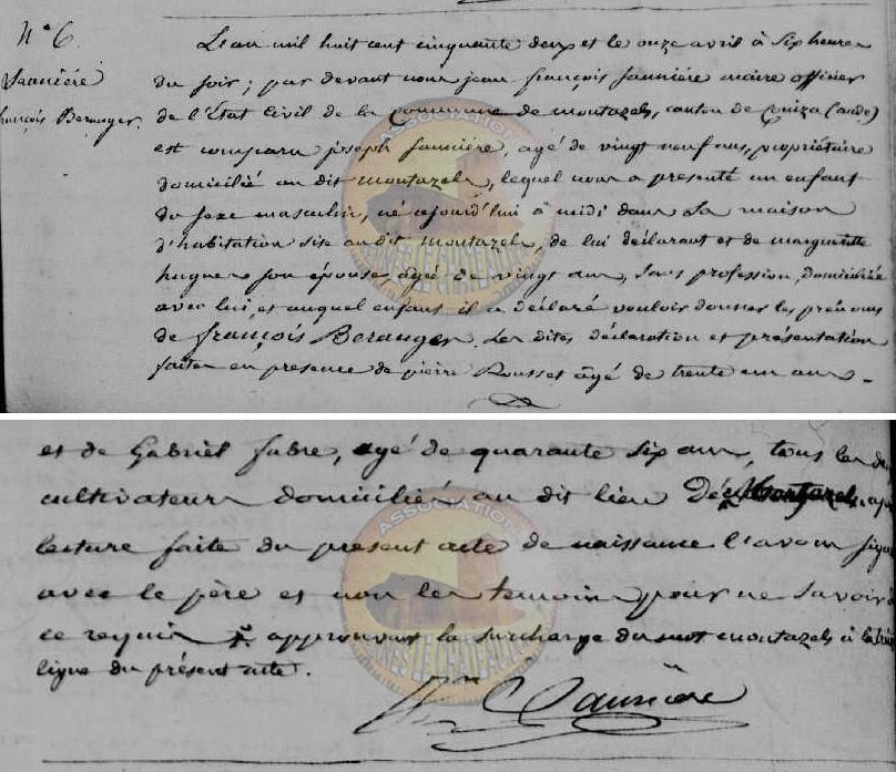 Acta de nacimiento Bérenger Saunière