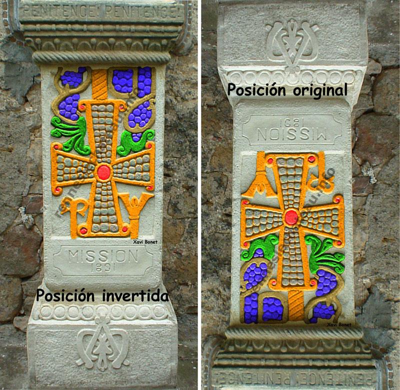 Reconstrucción coloreada de la cruz visigoda.