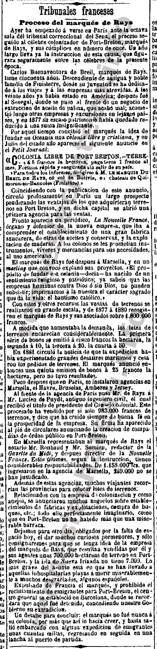 1883-13-06-1883-marques-de-rays-EL-DIA